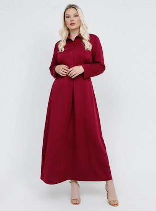 Plum - Cherry - Unlined - Point Collar - Plus Size Dress