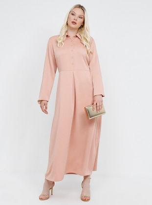Salmon - Unlined - Point Collar - Plus Size Dress