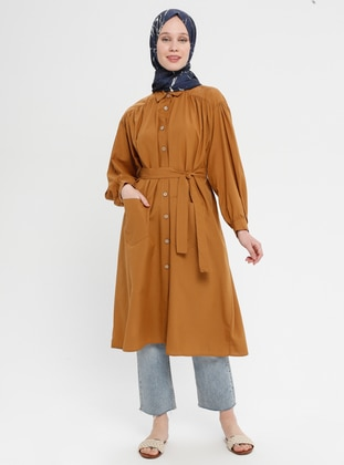 Camel - Unlined - Point Collar - Cotton - Topcoat