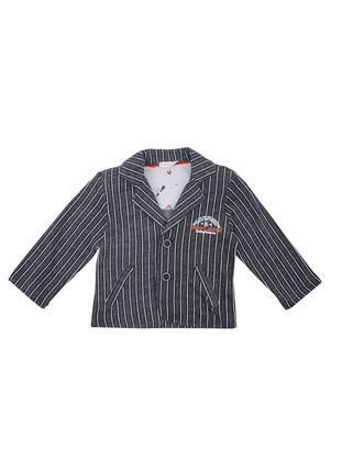 Stripe - Cotton - Navy Blue - Boys` Jacket