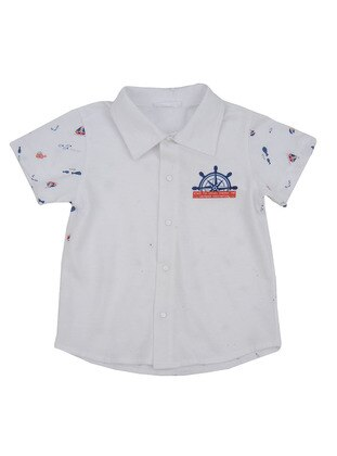 Multi - Point Collar - Cotton - White - Boys` Shirt