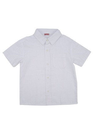 Point Collar - Cotton - Unlined - White - Boys` Shirt
