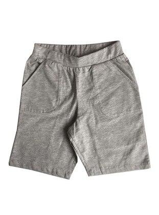 Cotton - Gray - Boys` Shorts