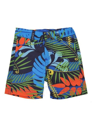 Multi - Cotton - Blue - Boys` Shorts - Mininio