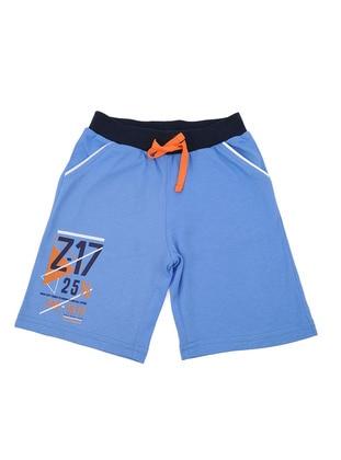 Cotton - Blue - Boys` Shorts