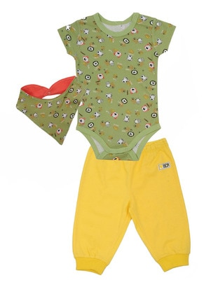 Multi - Crew neck - Cotton - Green - Boys` Suit