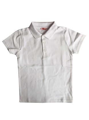 Point Collar - Cotton - White - Boys` T-Shirt