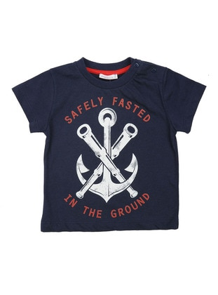 Multi - Crew neck - Cotton - Navy Blue - Boys` T-Shirt