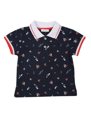 Multi - Point Collar - Cotton - Navy Blue - Boys` T-Shirt