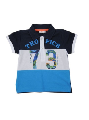 Multi - Point Collar - Cotton - Navy Blue - Boys` T-Shirt