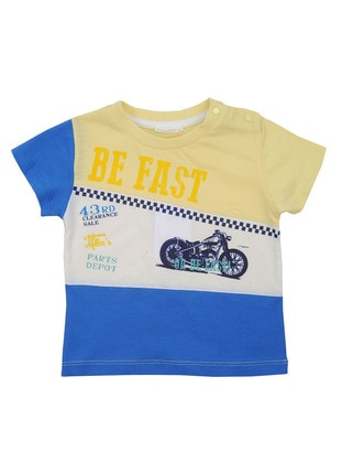 Multi - Crew neck - Cotton - Blue - Boys` T-Shirt
