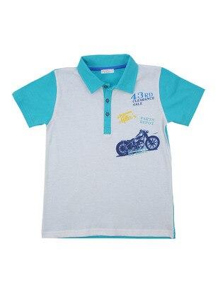 Multi - Point Collar - Cotton - Blue - Boys` T-Shirt