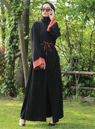 Pink - Black - Abaya