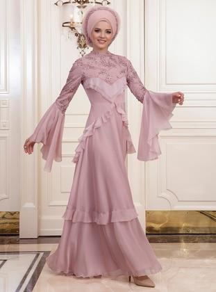 Powder - Fully Lined - Crew neck - Muslim Evening Dress