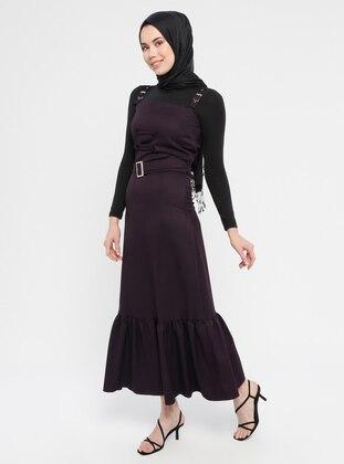 Purple - Unlined - Cotton - Dress