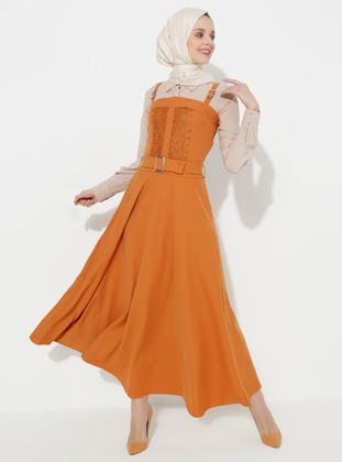 Orange - Unlined - Cotton - Dress