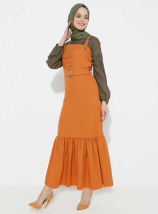 Orange - Cotton - Unlined - Cotton - Dress