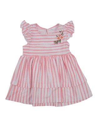 Stripe - Crew neck - Cotton - Multi - Girls` Dress