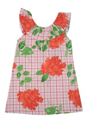 Multi - Crew neck - Cotton - Red - Girls` Dress