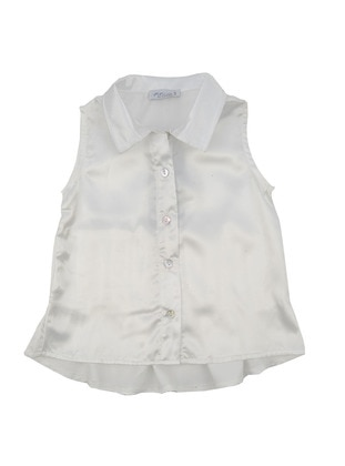 Point Collar - Satin - White - Girls` Shirt