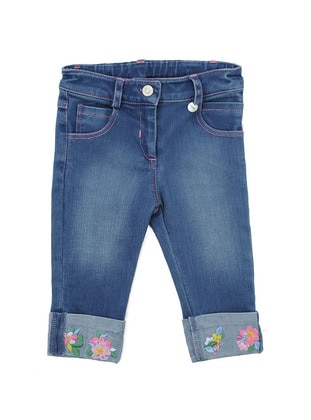 Cotton - Denim - Blue - Girls` Pants