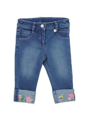 Cotton - Denim - Blue - Girls` Pants - Mininio