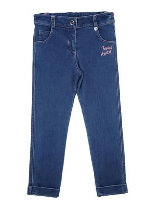 Cotton - Denim - Blue - Girls` Pants