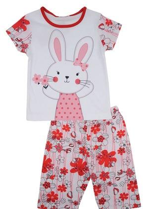 Multi - Crew neck - Cotton - Red - Girls` Pyjamas