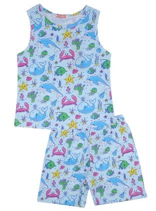 Multi - Crew neck - Cotton - Blue - Girls` Pyjamas