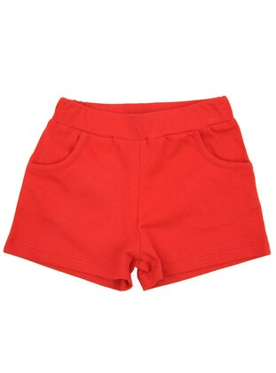 Cotton - Unlined - Red - Girls` Shorts