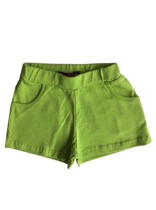 Cotton - Unlined - Green - Girls` Shorts