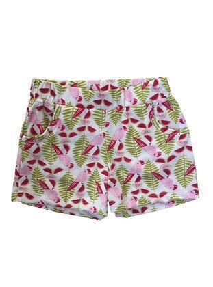 Multi - Cotton - Green - Girls` Shorts