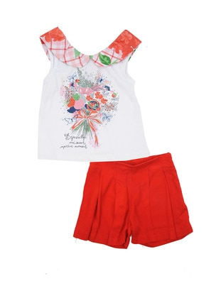 Multi - Round Collar - Cotton - Viscose - Red - Girls` Suit