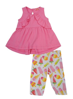 Multi - Crew neck - Cotton - Pink - Girls` Suit