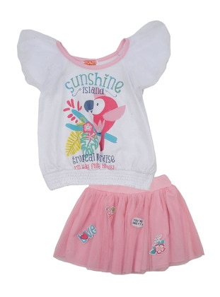 Multi - Crew neck - Cotton - Pink - Girls` Suit