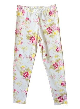 Multi - Cotton - White - Girls` Leggings