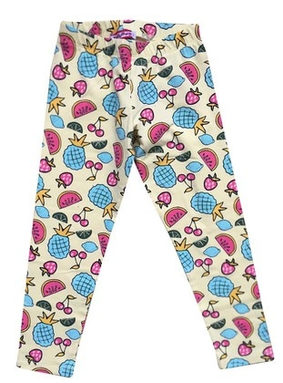 Multi - Cotton - Gray - Girls` Leggings