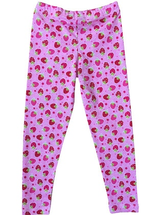 Multi - Cotton - Unlined - Pink - Girls` Leggings