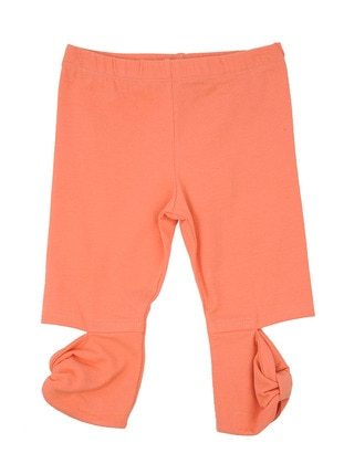 Cotton - Orange - Girls` Leggings