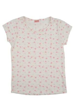 Multi - Crew neck - Cotton - White - Girls` T-Shirt