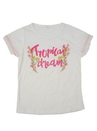 Multi - Crew neck - Cotton - Ecru - Girls` T-Shirt