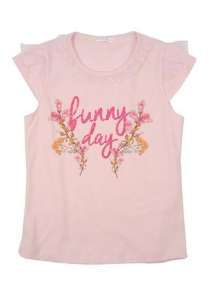 Multi - Crew neck - Cotton - Pink - Girls` T-Shirt