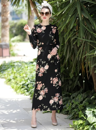 Black - Beige - Floral - Crew neck - Unlined - Dress - Selma Sarı Design