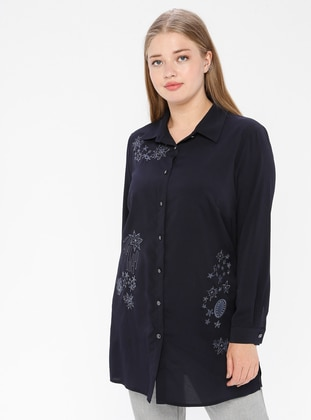 Navy Blue - Point Collar - Viscose - Tunic
