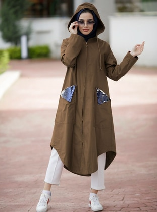 Brown - Fully Lined - Cotton - Trench Coat