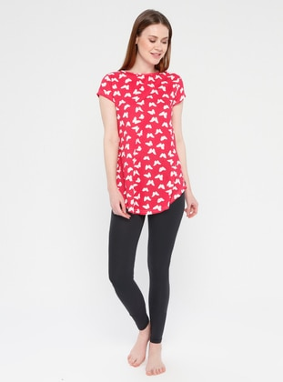Red - Black - Crew neck - Multi - Cotton - Pyjama