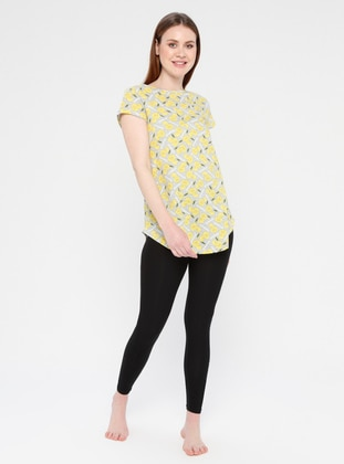 Black - Yellow - Gray - Crew neck - Multi - Cotton - Pyjama