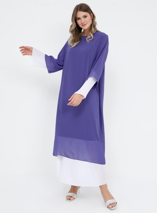 White - Ecru - Lilac - Fully Lined - Crew neck - Muslim Plus Size Evening Dress - Alia
