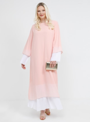 White - Ecru - Powder - Fully Lined - Crew neck - Muslim Plus Size Evening Dress