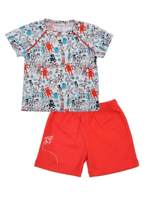 Multi - Crew neck - Red - Boys` Suit